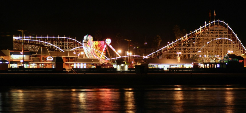 The Santa Cruz Boardwalk as seen at night.