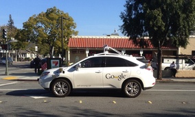A self-driving Google car on the streets of Palo Alto, California