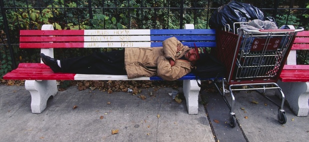 A homeless man in Jersey City, New Jersey.