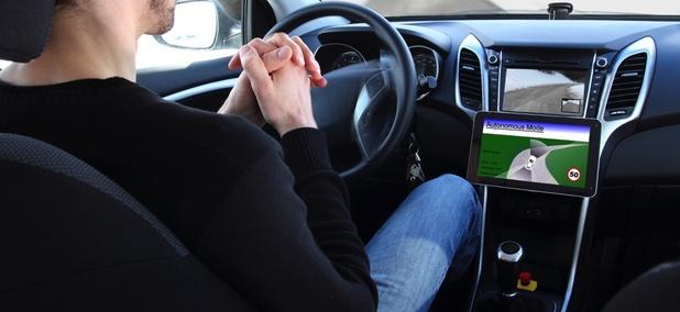 Inside an autonomous vehicle.
