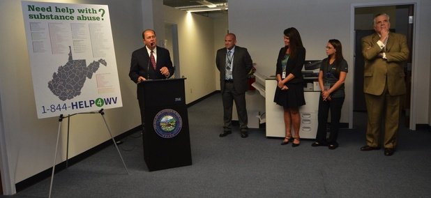 Gov. Earl Ray Tomblin joined West Virginia Department of Health and Human Resources officials on Tuesday, September 9, 2015, in Charleston, to launch 844-HELP4WV, the statewide 24-hour substance abuse and mental health call line.