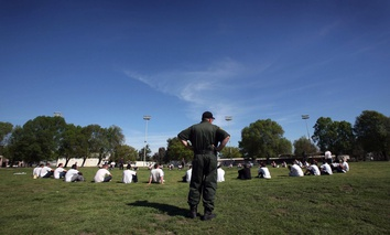Wards from the sex offender treatment program exercise in March 2007 at the O.H. Close Youth Correctional Facility in Stockton, California.