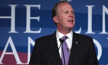 Mayor Kevin Faulconer speaking at the San Diego County Republican Party's 2015 Lincoln Reagan Dinner in San Diego, California.