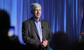 Michigan Gov. Rick Snyder addresses attendees during the 2016 Mackinac Republican Leadership Conference on Sept. 18, 2015, on Mackinac Island, Michigan.