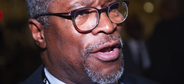 Kansas City, Mo. Mayor Sly James speaks with a reporter during the U.S. Conference of Mayors Winter Meeting in Washington, Wednesday, Jan. 20, 2016.