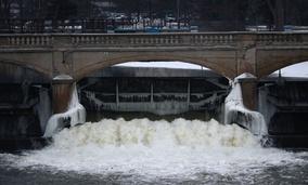 The Flint River near downtown Flint, Michigan.