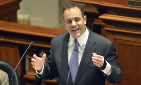 Kentucky Gov. Matt Bevin delivers his inaugural budget address at the State Capitol in Frankfort on Tuesday, Jan. 26, 2016.