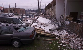 Building damage in south Seattle from the 6.8 magnitude Nisqually earthquake, which hit the Puget Sound region on Feb. 28, 2001.