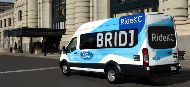 A RideKC Bridj van.