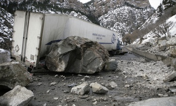 Boulders crashed down onto Interstate 70 in Glenwood Canyon on Feb. 15, 2016.