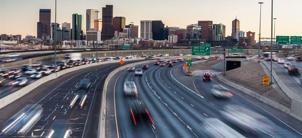 Interstate 25 near downtown Denver, Colorado.