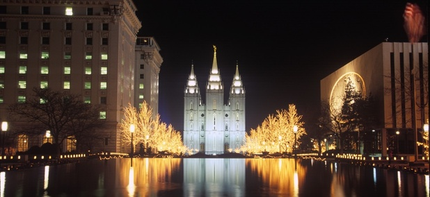 Temple Square in Salt Lake City, Utah. The Mormon community in Utah has been particularly vulnerable to white collar crime.