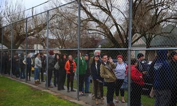 A long line at a Democratic caucus site in Salt Lake City, Utah