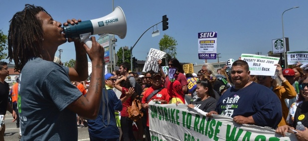 A demonstration in favor of the $15 minimum wage in Los Angeles, California.