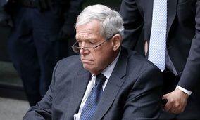 Former House Speaker Dennis Hastert departs the federal courthouse Wednesday, April 27, 2016, in Chicago.