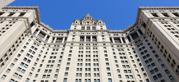 The New York City Municipal Building in Lower Manhattan.