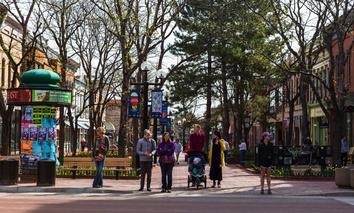 Pearl Street in Boulder, Colorado.