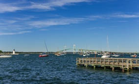 Newport Harbor, Rhode Island, where Captain Cooks ship may have been scuttled by the British during the Revolutionary War.