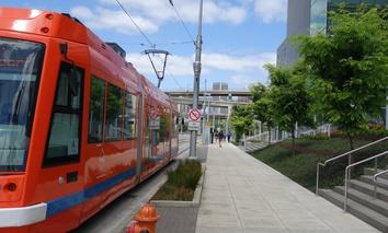 A streetcar vehicle in Portland, Oregon.