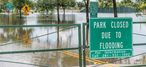 A flooded park in Houston, Texas