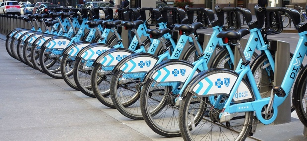 A Divvy bikeshare docking station in downtown Chicago.