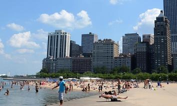 Oak Street Beach along Chicago's Lake Michigan waterfront.