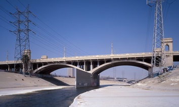 First Street crosses the Los Angeles River near downtown Los Angeles.