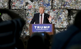 Republican presidential candidate Donald Trump speaks during a campaign stop, Tuesday, June 28, 2016, at Alumisource, a metals recycling facility in Monessen, Pa.