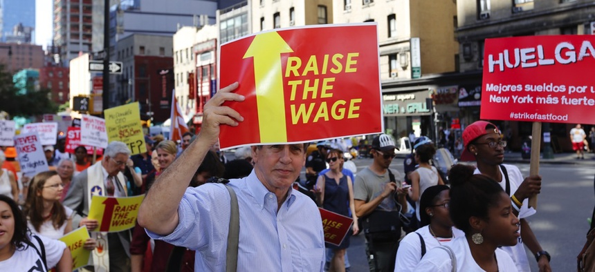A 2014 protest in favor of an increased minimum wage in New York City.