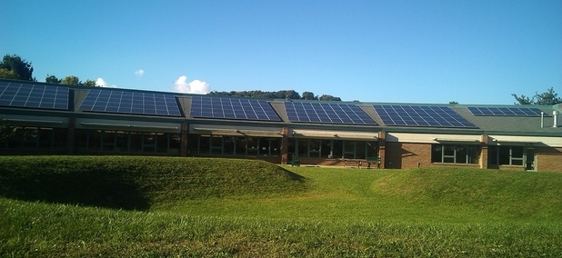UpGrade Athens County partnered with local solar installation business Third Sun to put this solar array on the Athens Public Library, vastly decreasing its energy consumption.