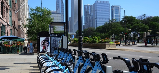 A Divvy bikeshare station on Michigan Avenue in Chicago, Illinois.