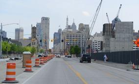 Woodward Avenue, looking toward downtown Detroit, in May.