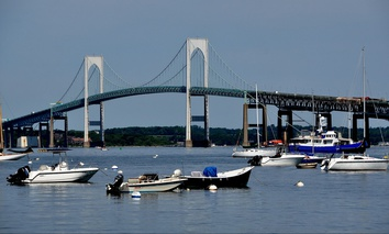 The Claiborne Pell Newport Bridge crosses the eastern passage of Narragansett Bay near Newport, Rhode Island.