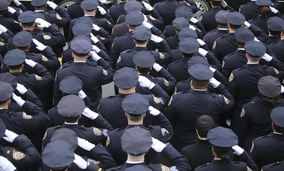 Several thousand police officers from all over North America attended funeral services for slain NYPD officer Wenjian Liu in Brooklyn, New York in January, 2015.
