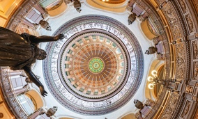 Inside the dome of the Illinois State Capitol building in Springfield, Illinois.