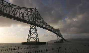 The Astoria-Megler Bridge near Astoria, Oregon, crosses the Columbia River near where it meets the Pacific Ocean.