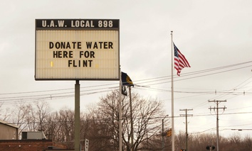Sign at an Ypsilanti, Michigan radio station asking for donations for the Flint water crisis.