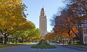 The Nebraska state capitol building. Nebraska is among a dwindling number of states that still enforce a lifetime ban on drug offenders receiving food stamps.