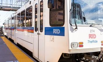 A light rail train in Denver, Colorado.