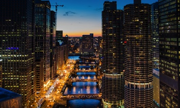 Chicago River at night.
