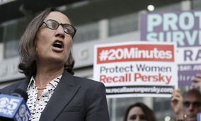 Stanford law professor Michele Dauber speaks at a rally before activists delivered over one million signatures to the California Commission on Judicial Performance calling for the removal of Judge Aaron Persky from the bench Friday, June 10, 2016.