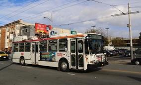 A Muni trolley bus in San Francisco, California.