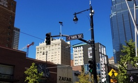 Sensors and other smart infrastructure line the Main Street corridor in downtown Kansas City's Power and Light District.