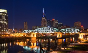 Downtown Nashville, Tennessee. Tennessee had one of the largest increases in median income in 2015.