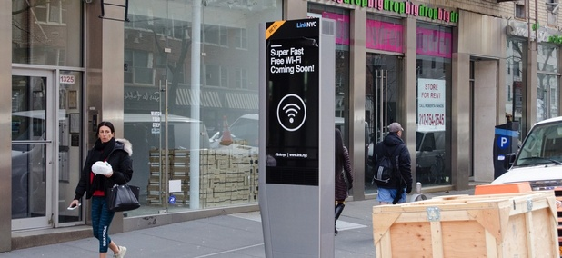 A LinkNYC Link structure in New York City, New York.