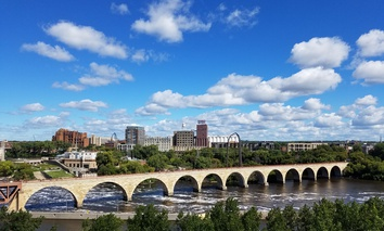 The Stone Arch Bridge crosses the Mississippi River in Minneapolis.