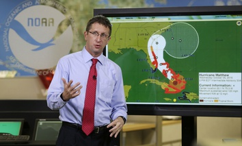 National Hurricane Center director Rick Knabb speaks during a televised forecast for Hurricane Matthew , Wednesday, Oct. 5, 2016, in Miami.