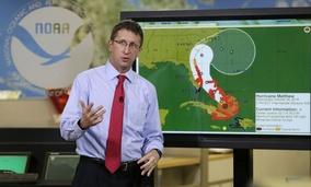National Hurricane Center director Rick Knabb speaks during a televised forecast for Hurricane Matthew , Wednesday, Oct. 5, 2016, in Miami.
