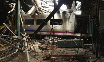 Damage done to the Hoboken Terminal after a commuter train crash.
