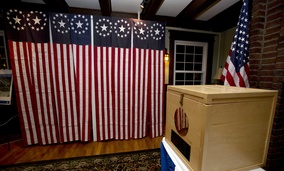 A ballot box is set Monday for residents in Dixville Notch, New Hampshire, to vote at midnight.